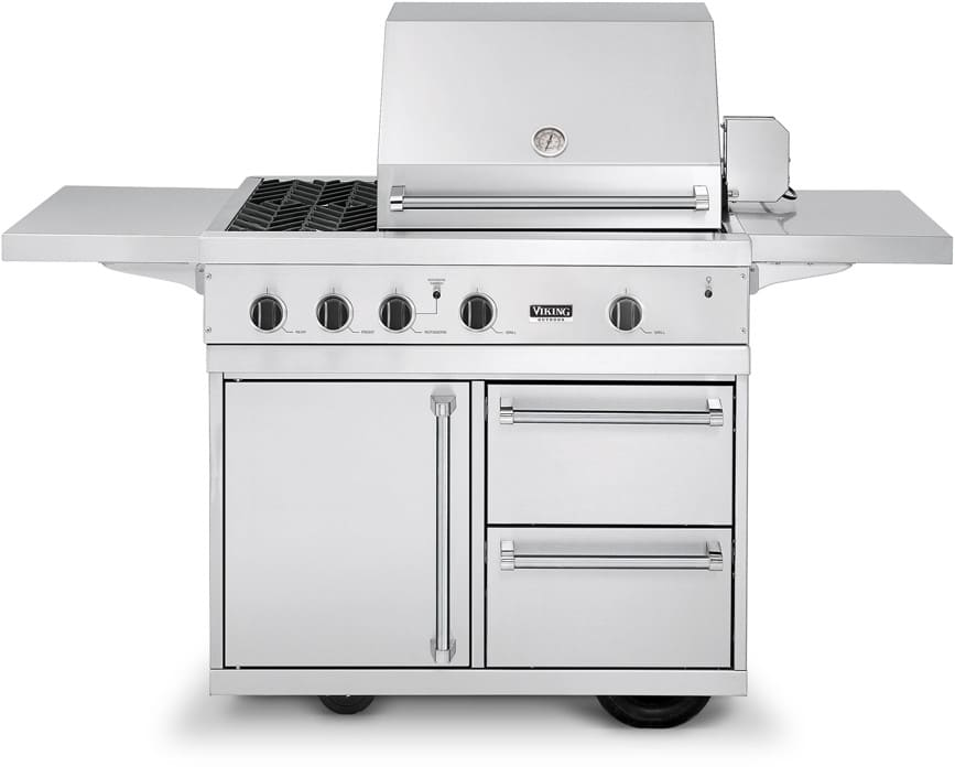 Viking vgbq4122re2lss 41 inch built in gas grill with 563 for Viking built in grill