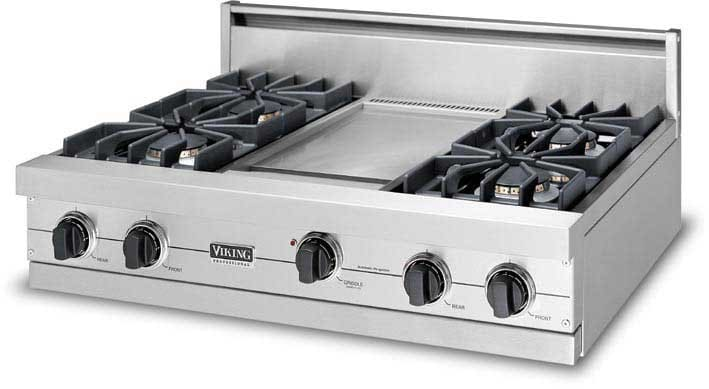 Viking vgrt3626bss 36 inch pro style gas rangetop with 6 for Viking 36 electric cooktop