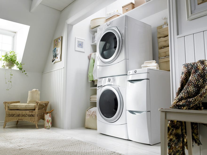Worksurface And Tower Whirlpool Duet Wed9150ww White Pair In Stacked Configuration With Laundry 123