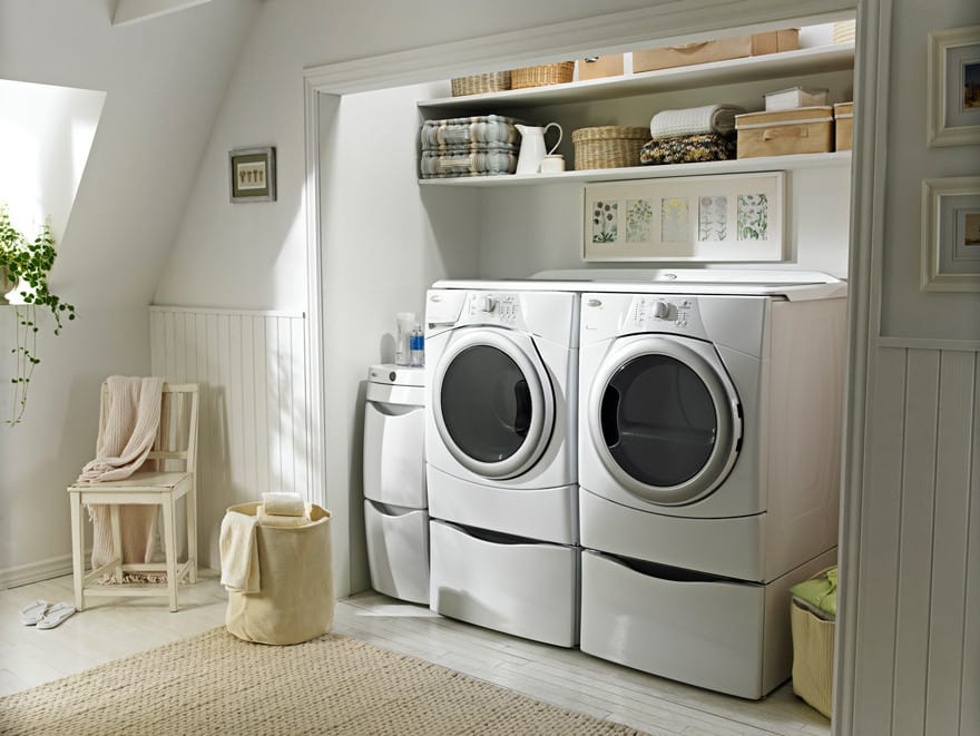 Whirlpool Duet Wed9150ww White Pair On 15 Pedestals With Laundry 123 Worksurface And