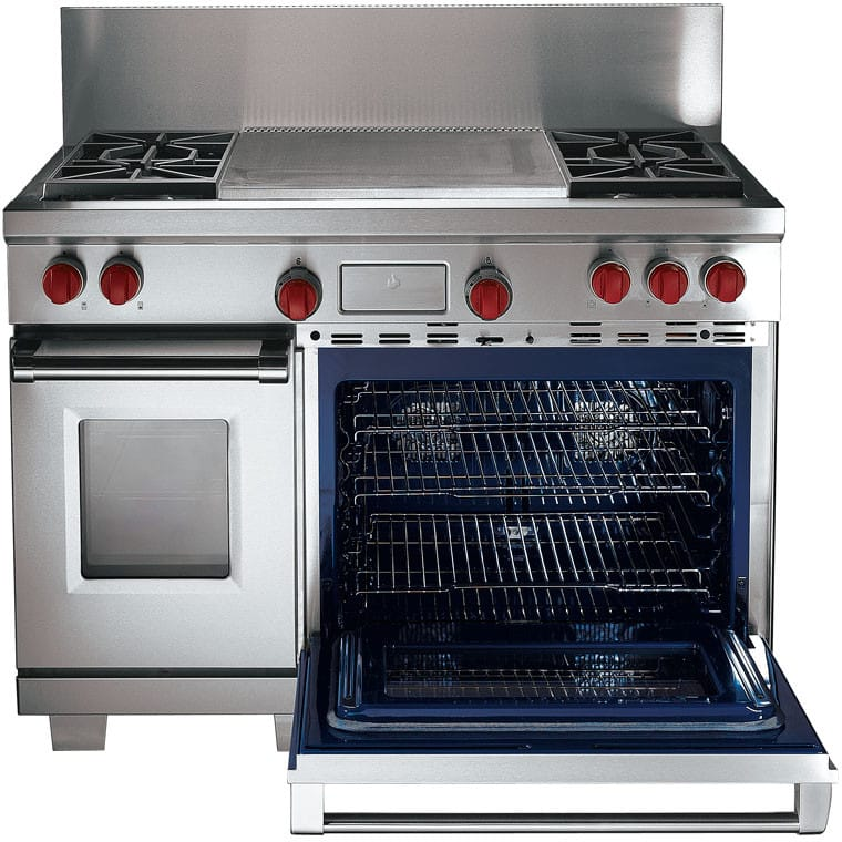 Dual Fuel Oven Range Part - 38: Wolf DF484DG - Front View Wolf DF484DG - Stainless Steel With Red Knobs ...