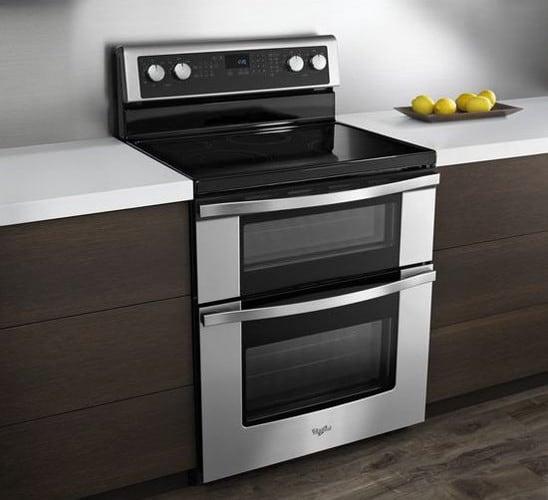 whirlpool wge555s0bs stainless steel whirlpool wge555s0bs lifestyle view stainless steel