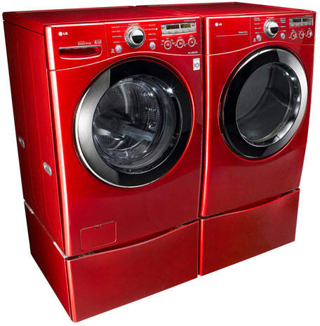 lg wm2350hrc angled view with matching dryer and optional pedestals
