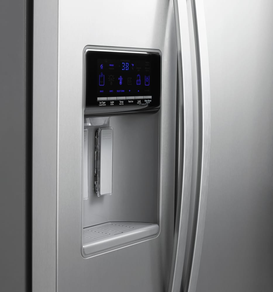 Whirlpool white ice side by side -  Whirlpool Wrs576fidw Exterior Filtered Water Dispenser With Tap Touch Controls Monochromatic Stainless Steel Pictured