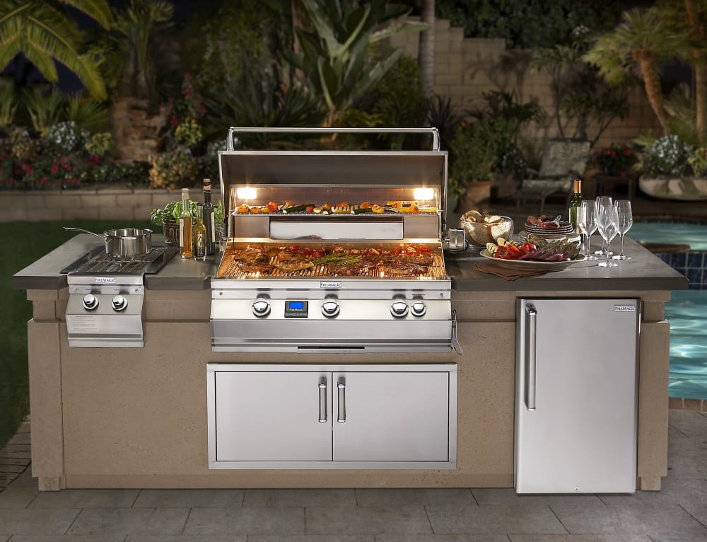 Fire magic a790i6e1n 36 inch built in gas grill with 792 for Pre built outdoor kitchen islands