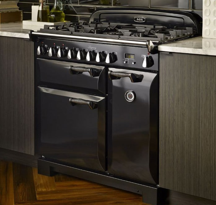 aga 36 inch prostyle dual fuel range with convection glideout broiler oven 45 cu ft total capacity 5 sealed gas burners