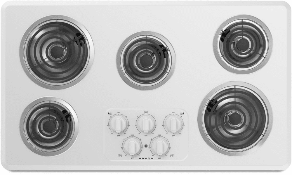 Amana Acc6356kfw 36 Inch Electric Cooktop With 5 Heating