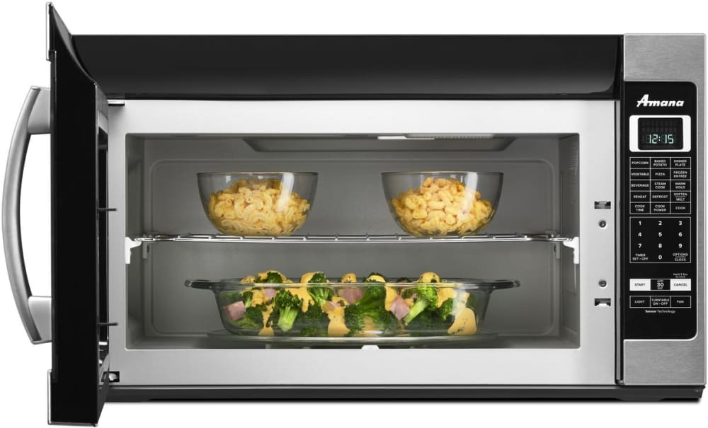 Amana 2 0 cu ft over the range microwave in white with sensor - Amana Amv6502res 2 0 Cu Ft Over The Range 1 000 Watt