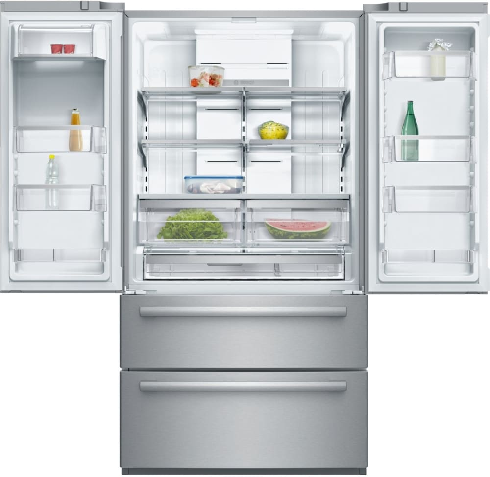 Bosch b21cl80sns 36 inch 4 door counter depth french door two freezer bosch 800 series b21cl80sns in use view rubansaba