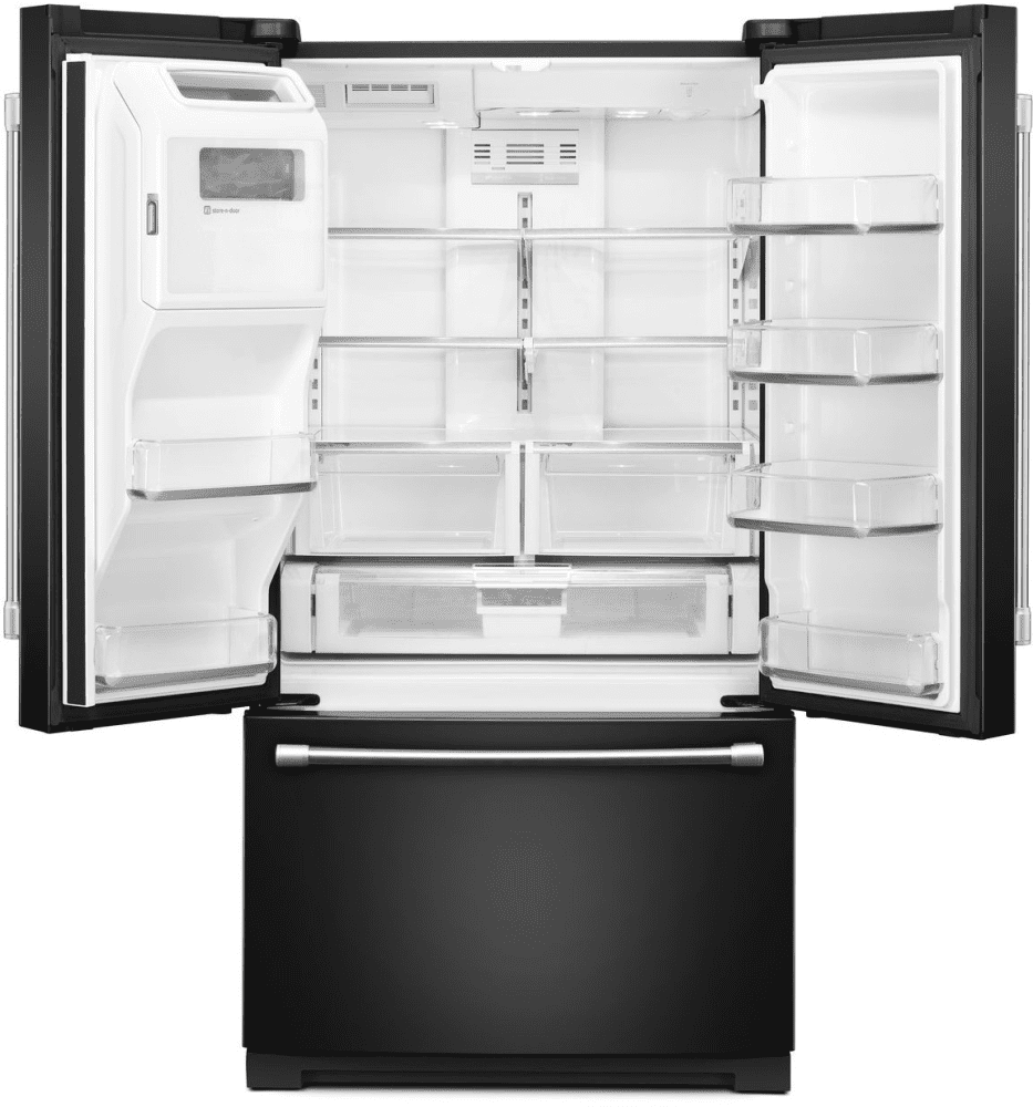 Maytag mft2776dee 268 cu ft french door refrigerator with 5 maytag mft2776dee black maytag mft2776dee open view empty rubansaba