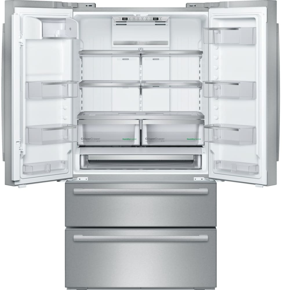 bosch b21cl81sns 36 inch 4door counter depth french door with dual evaporators humidity control drawers ice maker supercool setting