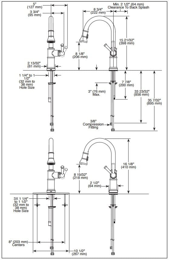 Brizo 64025LFPC Single Lever Pull-Down Kitchen Faucet with Spray and ...