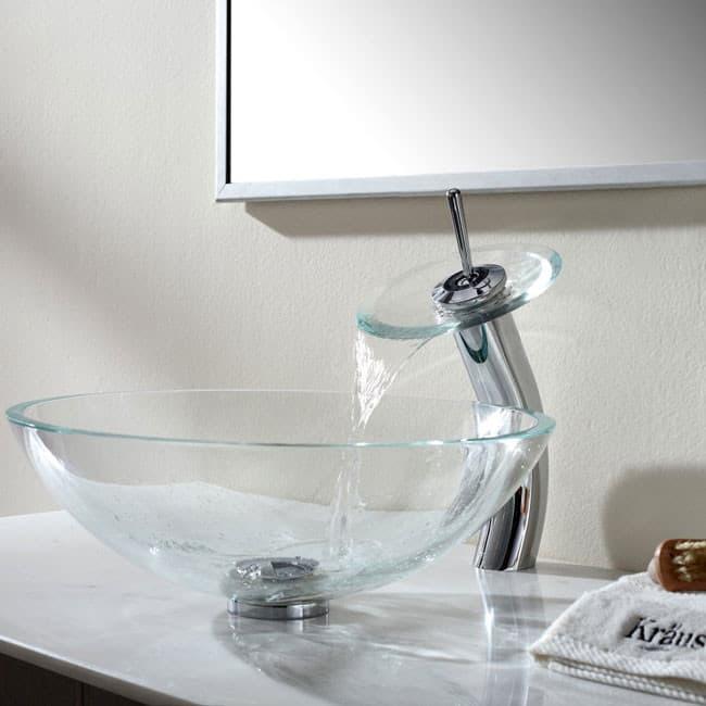 Kraus CGV10012MM10CH 16 1/2 Inch Crystal Clear Glass Vessel Sink ...