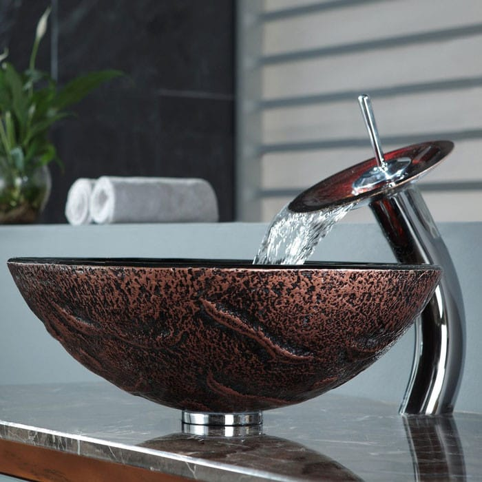 inch lava glass vessel sink waterfall faucet bowl depth spout reach solid brass pop drain sinks for bathrooms single vanity with installation
