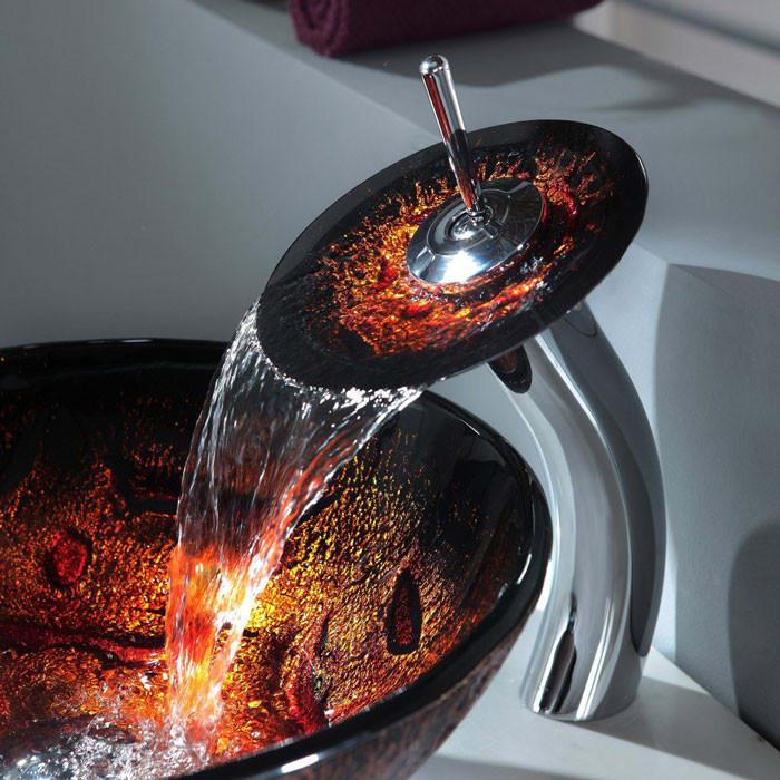 Kraus CGV71012MM10CH 16 1/2 Inch Lava Glass Vessel Sink with ...