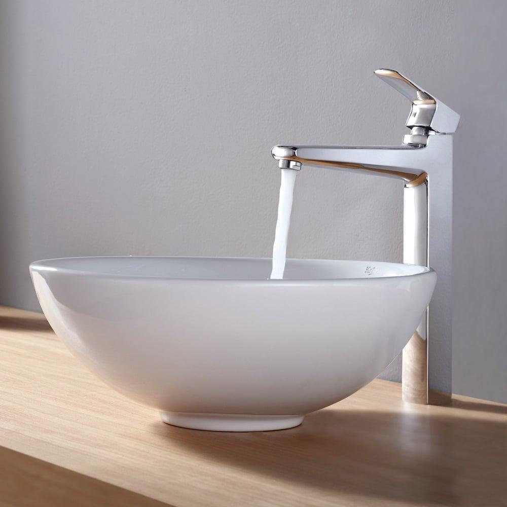Kraus ckcv14115500ch 16 inch round ceramic sink with for White ceramic bathroom bin