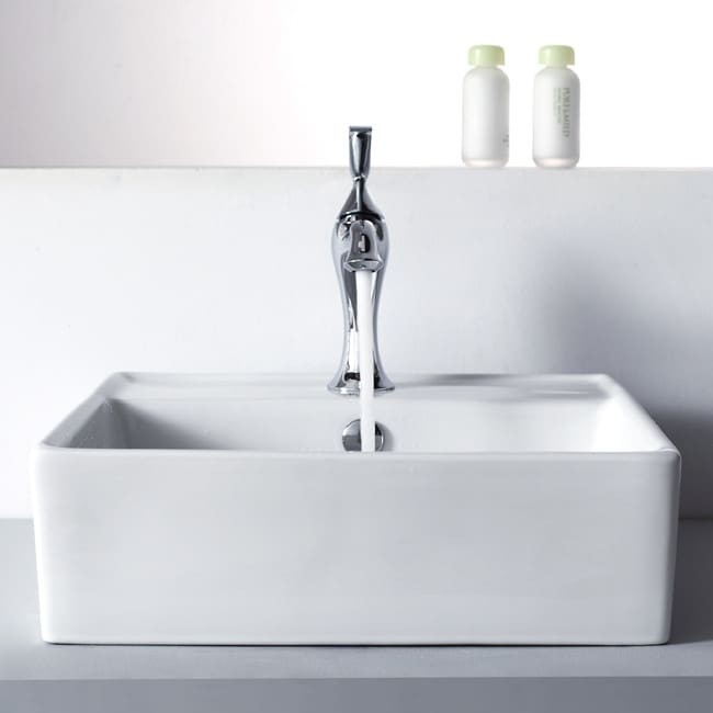 Kraus ckcv15015001ch 18 3 5 inch square ceramic sink with for Ceramic bathroom bin