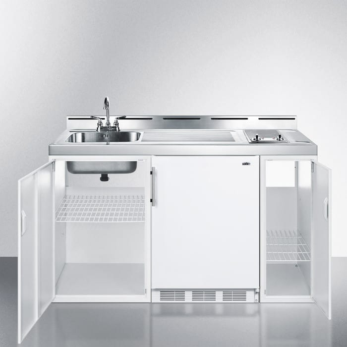 summit c60elglass0 60 inch combination kitchen with 2 smoothtop electric burner  stainless steel