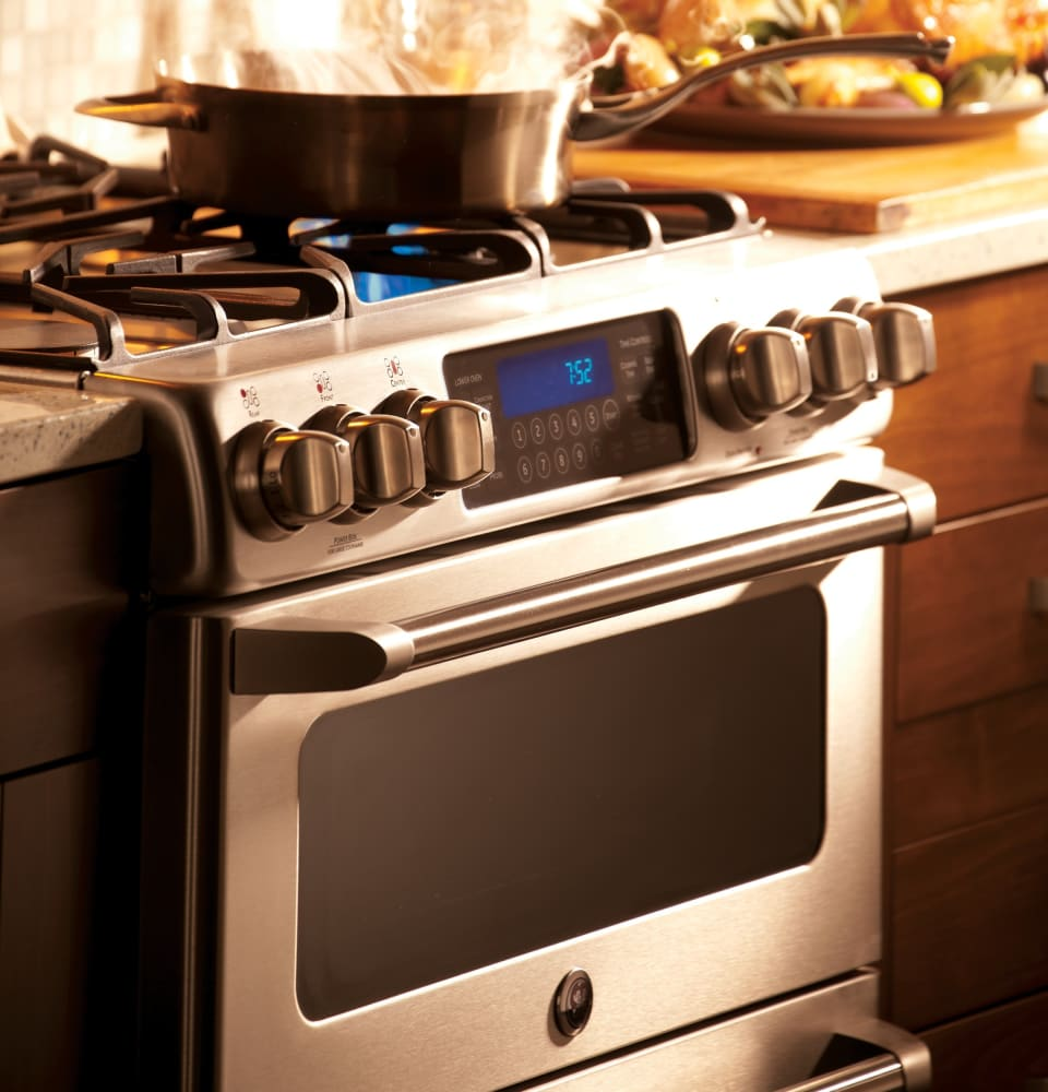 ge cgs990setss 30 inch slidein caf series double oven gas range with precise simmer burner nonstick griddle ge fits guarantee temperature probe