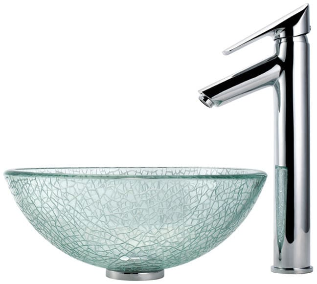 14 Inch Broken Glass Vessel Sink with Decus Faucet, 5-1/2 Inch ...