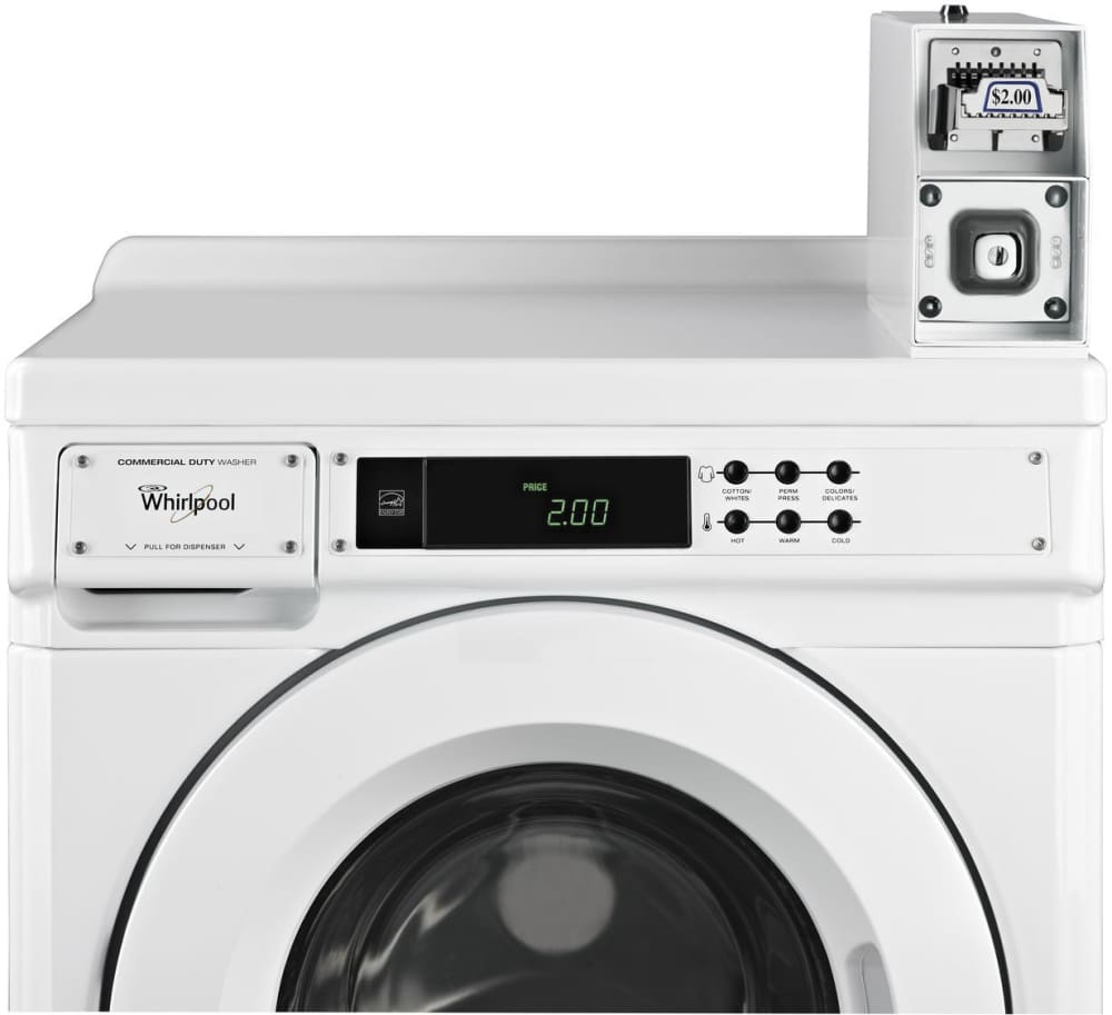 whirlpool chw9050aw 27 inch front load commercial washer with pre installed coin box. Black Bedroom Furniture Sets. Home Design Ideas