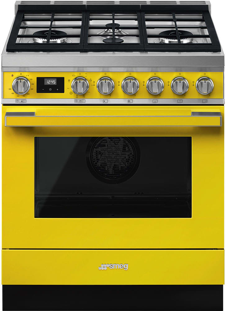 Smeg Cpf30ugmyw 30 Inch Freestanding Dual Fuel Range With