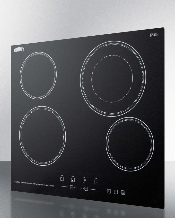 Electric Range Smooth Top Cooking Surface Summit On In: Summit CR4B23T5B 24 Inch Smoothtop Electric Cooktop With
