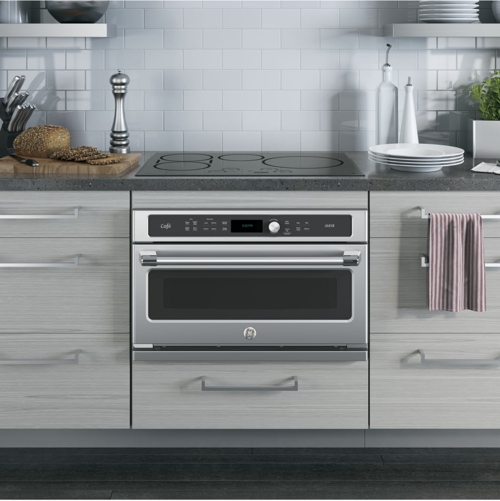 Picture Of Under Cooktop Kitchen Drawers: GE CSB9120SJSS 30 Inch Single Electric Speed Oven With 1.7