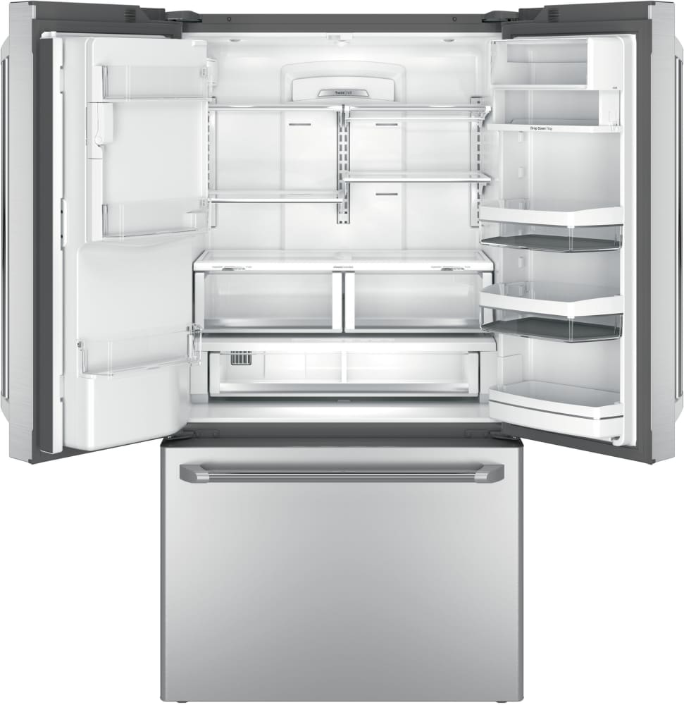 ... GE Cafe Series CYE22USHSS   Under 7 LED Lights, The Fridge Features 4  Silver  ...