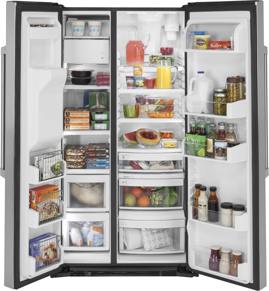 refrigerator racks. ge czs22mskss - storage options are versatile with multiple drawers, adjustable glass shelves, refrigerator racks