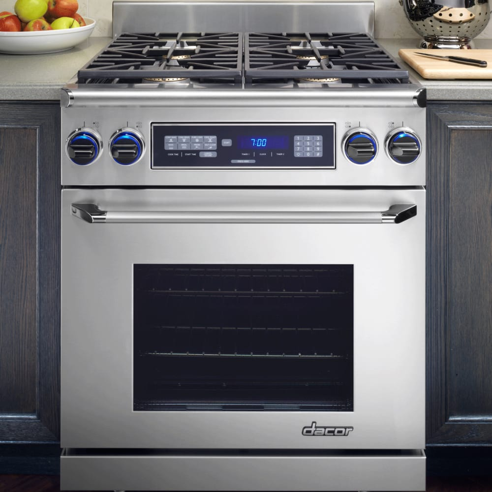 Dacor ER30DSRSCHLP 30 Inch Pro Style Dual Fuel Range With 4 Sealed Burners,  18,000 BTU, 3.9 Cu. Ft. Oven Capacity, 3,500 W Broil Element, Pure  Convection ...