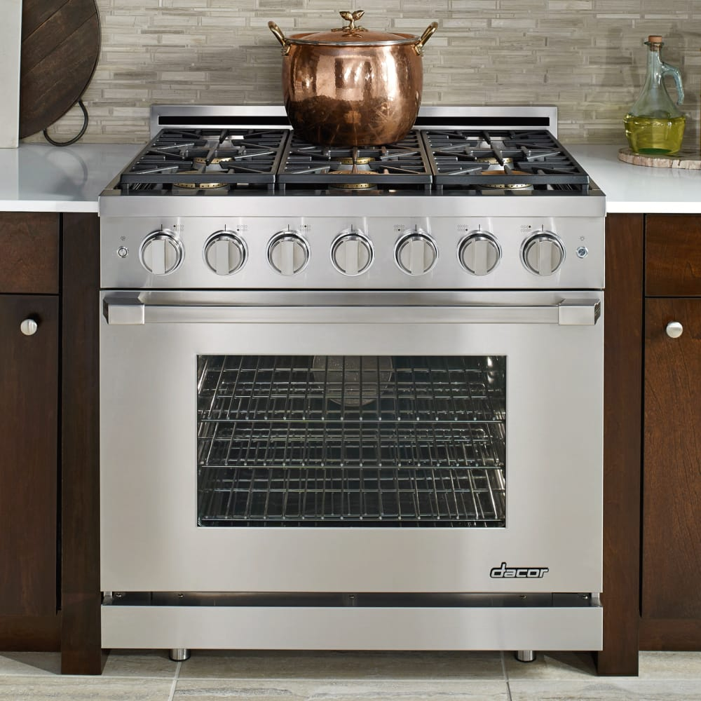 Dacor rnrp36gsngh 36 inch freestanding gas range with 6 for Dacor cooktop
