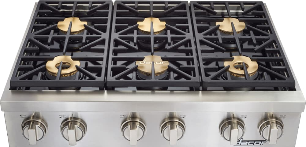 Dacor dyrtp486slp 48 inch gas rangetop with 6 sealed for Dacor 48 rangetop