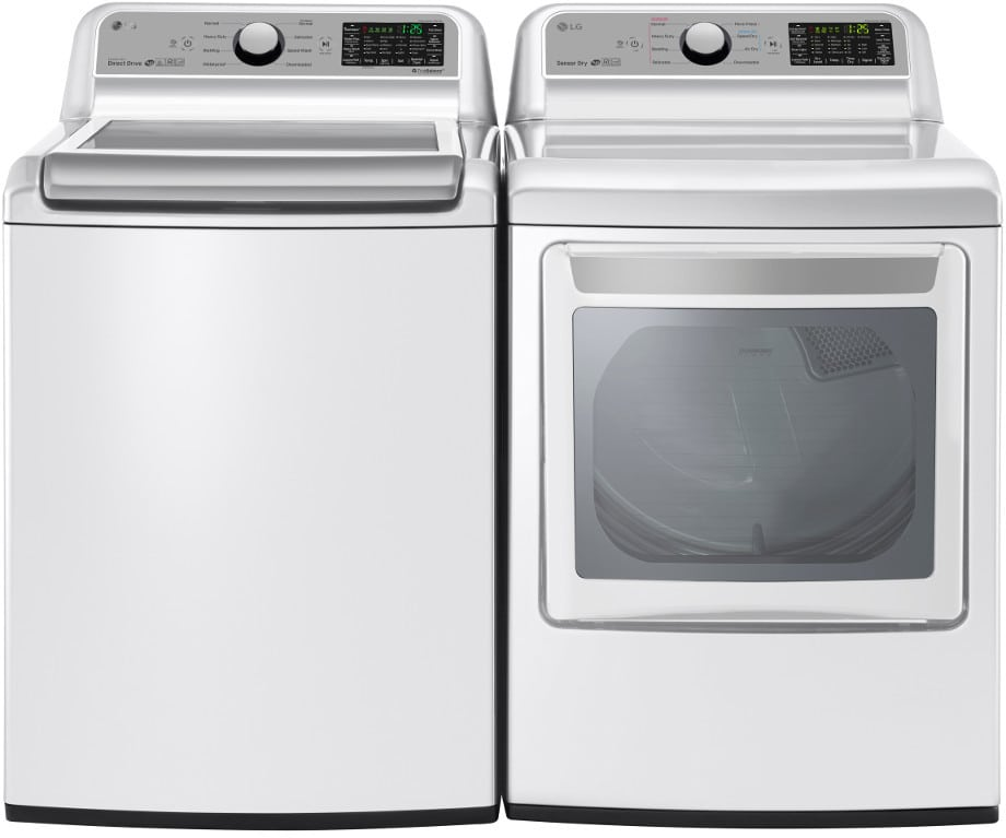 lg lgwadrgw721 side by side washer dryer set with top load washer and gas dryer in white. Black Bedroom Furniture Sets. Home Design Ideas
