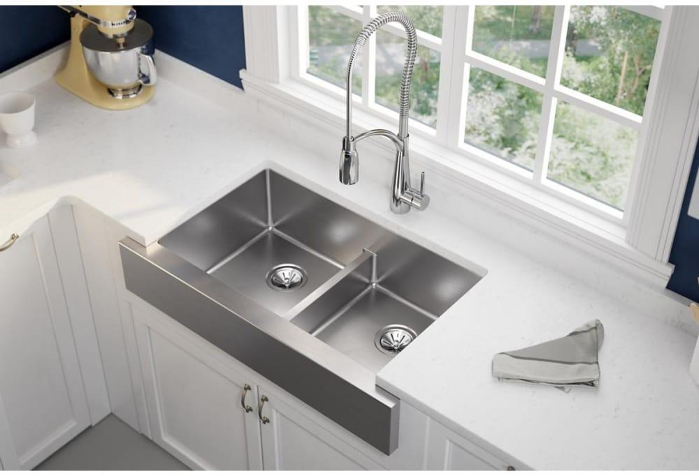 Elkay Ectrufa32179 36 Inch Double Bowl Farmhouse Kitchen