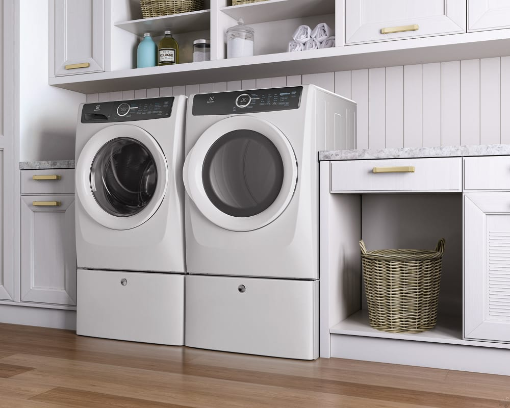 Electrolux efme517siw 27 inch 80 cu ft electric dryer with electrolux efme517siw island white lifestyle view with pedestal sciox Choice Image