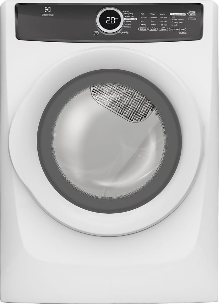 Electrolux efme517siw 27 inch 80 cu ft electric dryer with electrolux efme517siw island white front sciox Choice Image