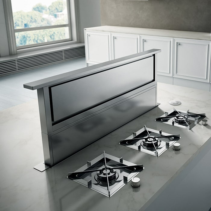 Elica ers636s1 36 inch ducted downdraft hood with 600 cfm for Down draft range hood