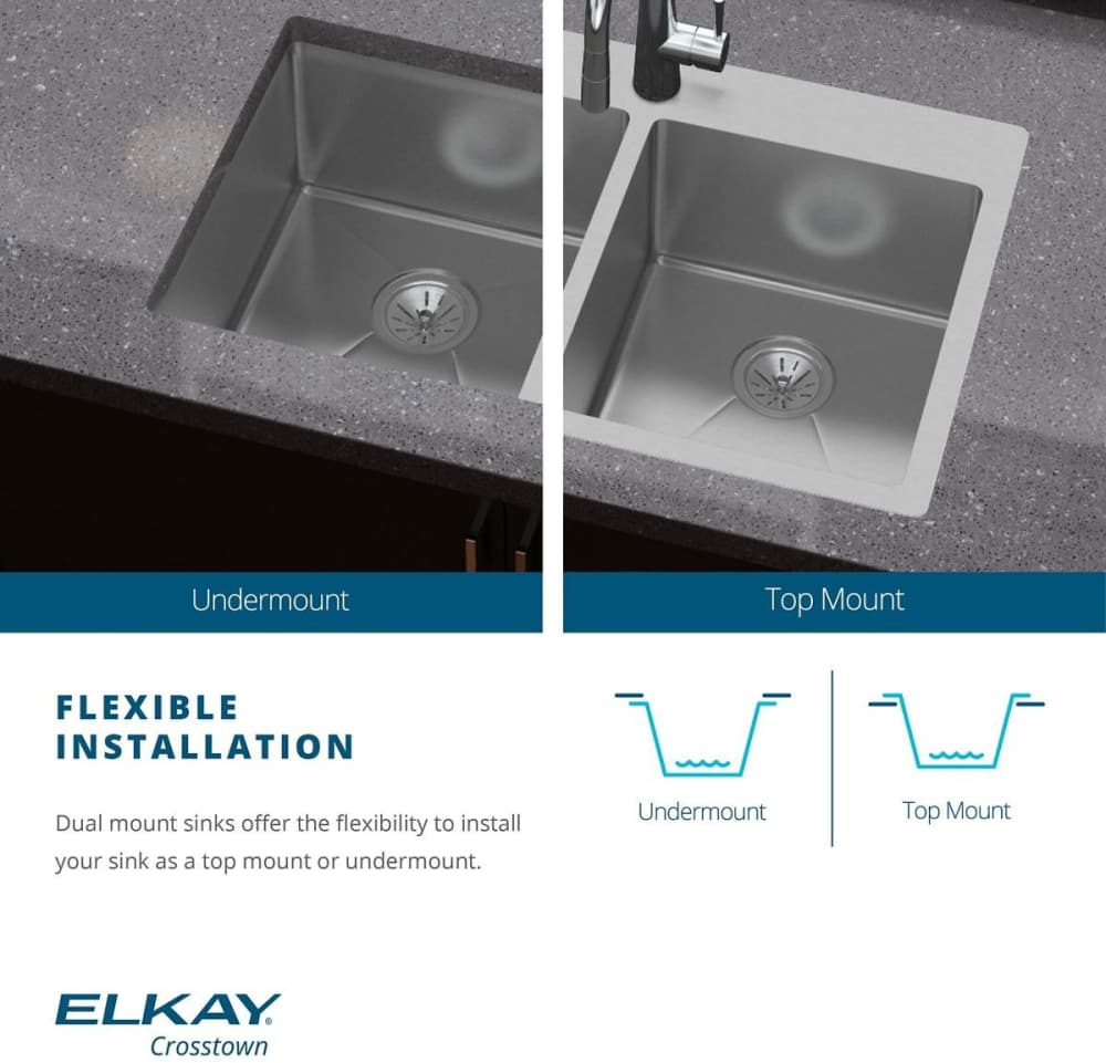 ... Elkay Crosstown Collection ECTSRAD33226TBG2   Dual Mount Feature ...