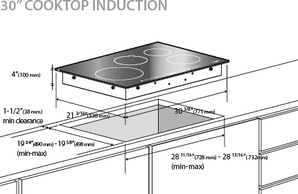 30 Induction Cooktop Fulgor Milano 700 Series F7it30s1 Dimensions