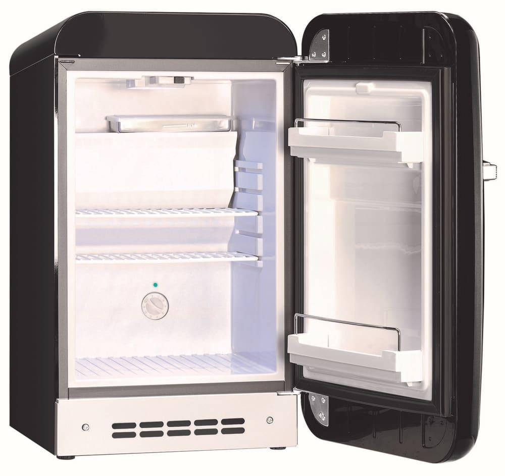 Smeg Refrigerator Interior -  smeg 50 s retro design fab5urne black open empty