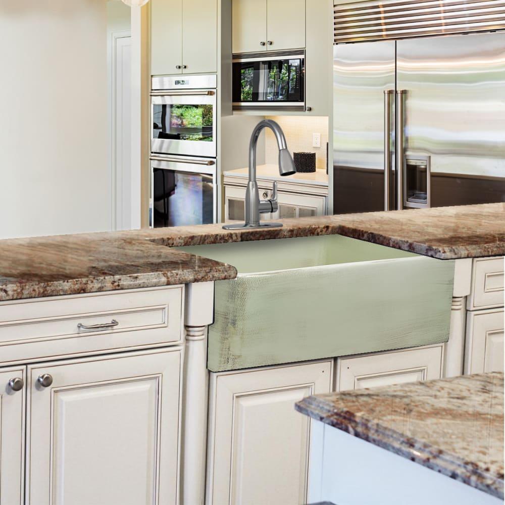 Nantucket sinks fcfs3020sshabbygreen 30 inch farmhouse kitchen sink nantucket sinks vineyard collection fcfs3020sshabbygreen shabby green lifestyle view workwithnaturefo