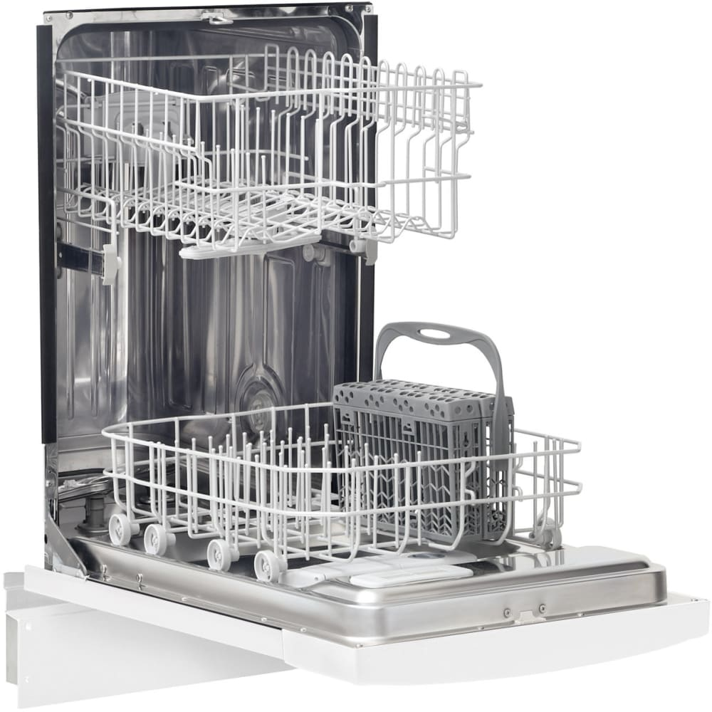 frigidaire ffbd1821mw 18 inch full console dishwasher with energy saver high temperature wash china crystal cycle stainless steel tub 6 wash cycles