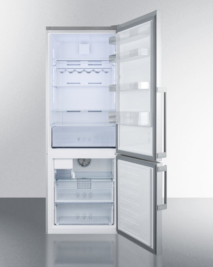 refrigerator bins. summit ffbf287ssimlhd - adjustable glass shelves, removable wine rack, door bins, refrigerator bins z