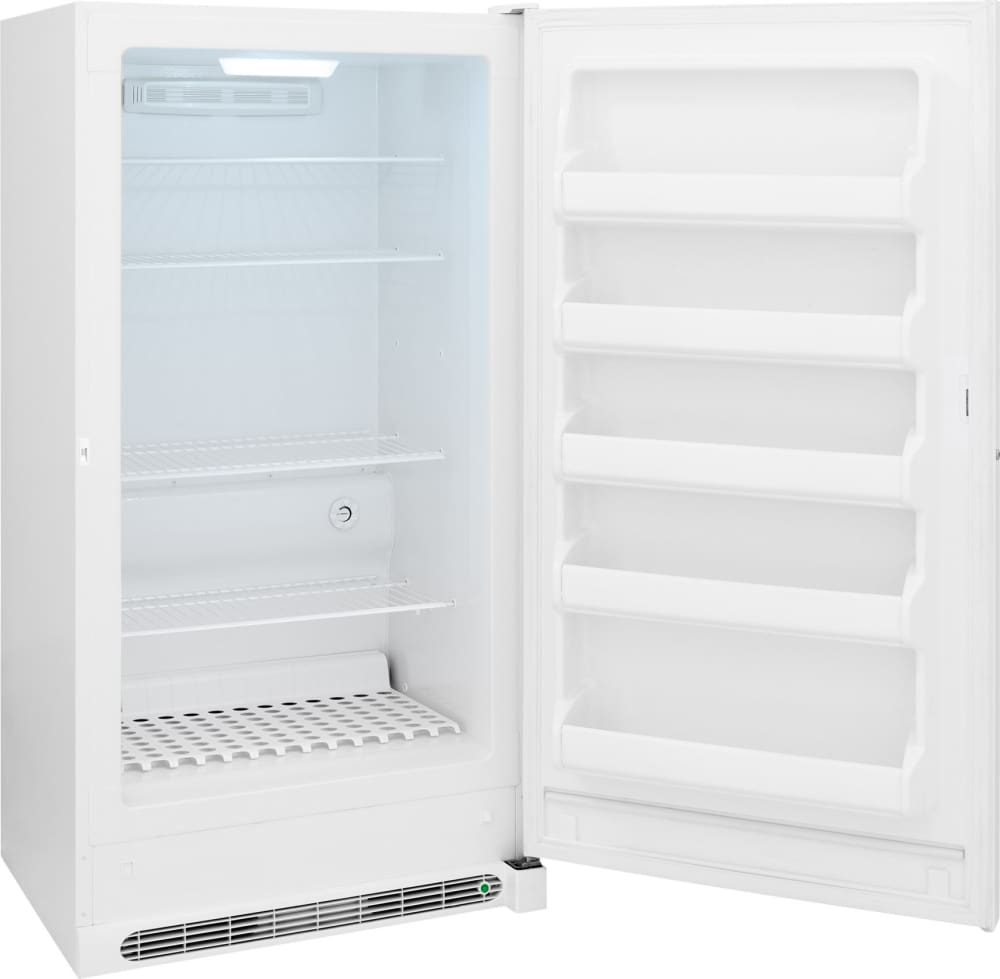 frigidaire fffh17f2qw 166 cu ft upright freezer with 4 wire shelves 5 door bins frostfree operation lock with popout key led lighting - Upright Freezers