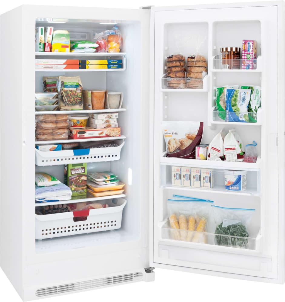 frigidaire fffh21f6qw 205 cu ft upright freezer with adjustable glass shelves spacewise adjustable baskets soft freeze zone - Upright Freezers