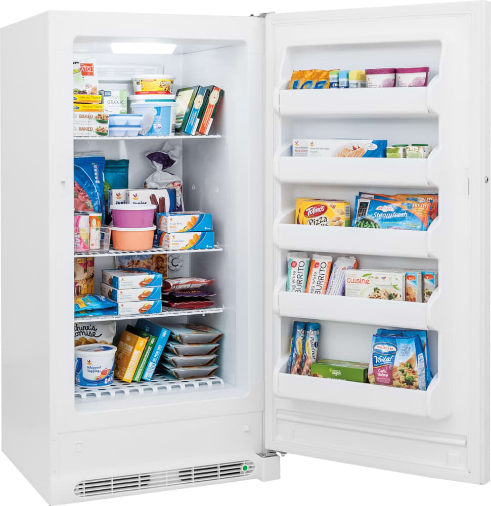Midea stainless steel compact single reversible door upright freezers - Frigidaire Fffu14f2qw 13 8 Cu Ft Freestanding Upright Freezer With 3 Adjustable Wire Shelves 5 Door Bins Led Lighting Lock With Pop Out Key And