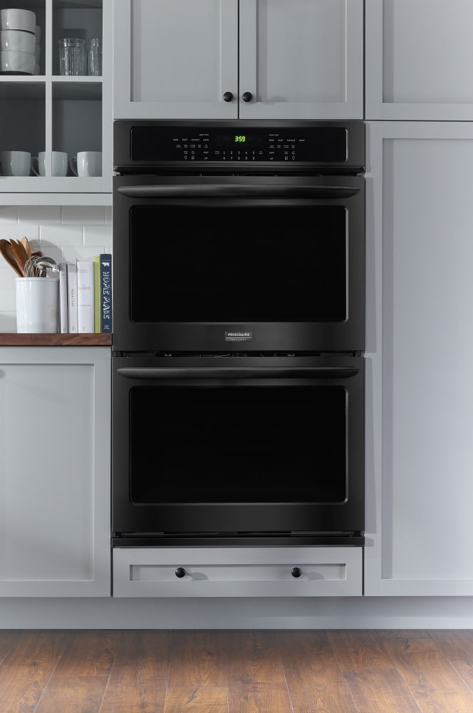 double wall oven electric corner cabinet dimensions textured contemporary head on gas 24 self cleaning
