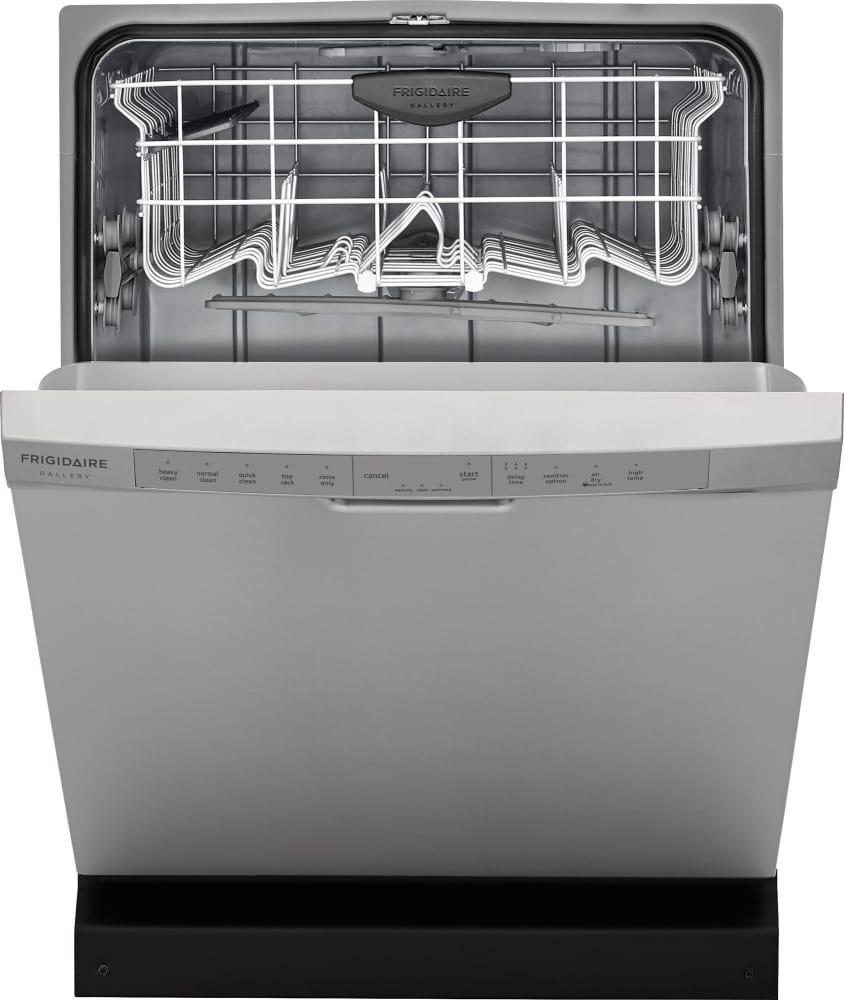 Frigidaire Fgcd2444sa 24 Inch Full Console Built In Dishwasher With 14 Place Settings 5 Wash Cycles 54 Dba Silence Rating Effortless Dry Bladespray Arm Dishsense Store More Capacity Quick Clean Delay Start Nsf Certified Rinse