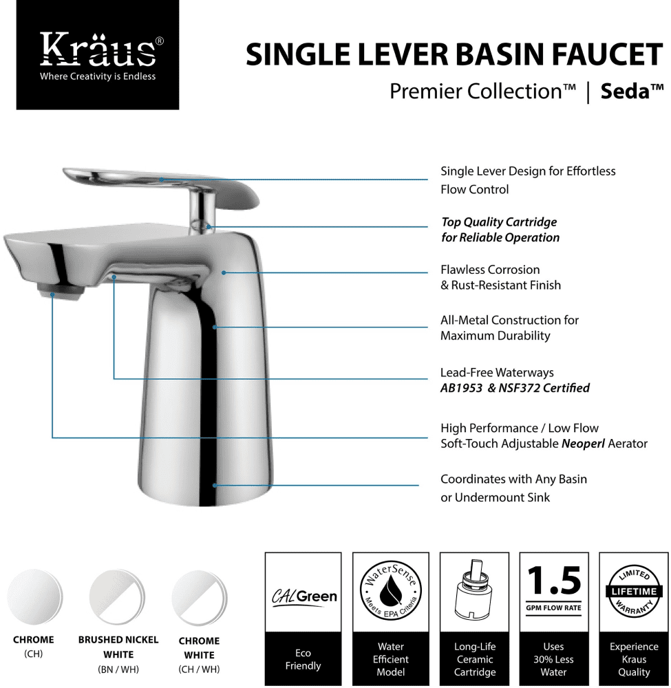 Kraus FUSCH Single Handle Cast Spout Bathroom Faucet With Brass - Brushed stainless steel bathroom faucet